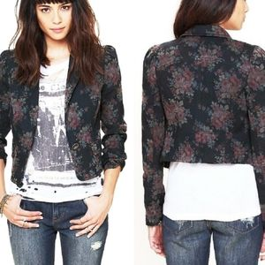 Free People Black Floral Denim Cropped Blazer